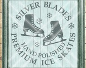 Christmas SVG Cut File - Winter Ice Skate Cut File - Sliver Blades Hand Polished Ice Skates - Digital svg, dfx, png and jpg files