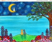 ON SALE Cats full Moon flowers trees Ocean Print Duffett