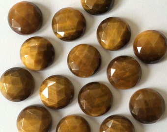 Gemstone Cabochon Tiger Eye Rose Cut Yellow 12mm FOR TWO