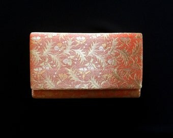 Vintage Japanese Kimono Clutch - Japanese Clutch - Bridal Clutch - Vintage Bag - Bridal Bag - Gold Orange Silver Clutch