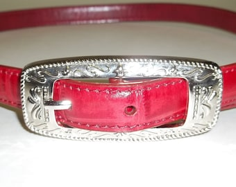 """Belt RED Leather / Ornate silver tone buckle Vintage 80s By M.C  ,still has the tags /size L  32"""" to 34"""""""