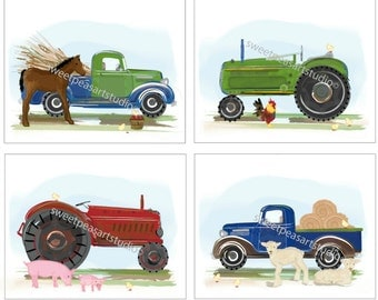 Boys Art, Tractor Art, Pickup Trucks, Farm Equipment Art Prints for Kids Bedding Decor, Boys Wall Decor