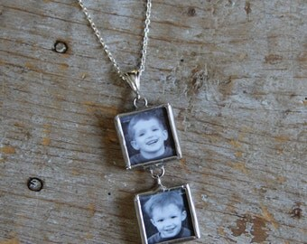Double Soldered Glass Photo Charm Necklace, Mommy Necklace, Personalized Photo Necklace, Grandma Necklace