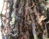 Smoke on the Water corespun art yarn 16 yards mohair wool yarn colorful curly textured colorful girlwithasword dread