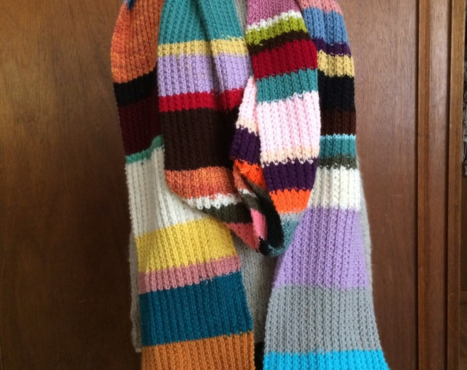 CLEARANCE - Handknit extra huge and long doctor who inspired scarf 12 feet long
