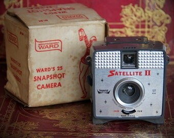 Vintage 1960s Satellite II Camera from Montgomery Ward 1960s - Original Box and Instructions - Shutter Works