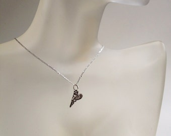 Mini Silver Heart Necklace, Tiny Heart Necklace, Solid Sterling Silver, Hand Crafted