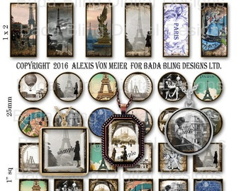 Vintage Paris, jewelry sampler, digital collage sheets...INSTANT Download at Checkout, Eiffel Tower, inchies, hearts, 1 x 2 , 25mm,Paris
