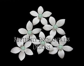 Wedding Hair Flowers, Bridal Hair Accessories, White Ivory Mint Bridesmaid Gift, Hair Piece - 6 Thea Jasmine Bridal Hair Pins - Mint Centers