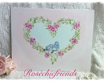 11x14 Canvas Hand Painted Wreath Of PINK Roses Blue Birds Shabby Chic ecs cst schteam svfteam