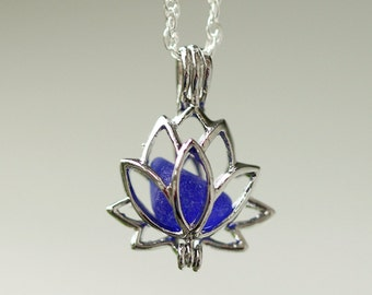 Lotus Necklace - Sea Glass Locket  - Blue sea glass - Gift for her - Lotus Locket - Real sea glass jewelry - beach glass - 18 inches