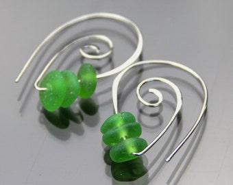 Sea glass earrings - Spiral earrings - Gift for her - Sterling silver earrings - Beach glass jewelry - Under 30 - Teacher gift - Green glass