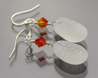 White Sea glass earrings - Sea glass jewelry - Earrings - Alaska Beachglass jewelry - Beach earrings - Crystal earrings - Sterling silver