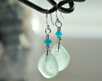 Aqua Sea glass earrings - sea glass jewelry - Earrings - Alaska Beachglass jewelry - beach earrings - crystal earrings - sterling silver