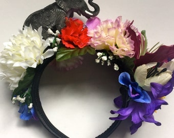 Elephant Toy Floral Flower Crown Festival Head Dress Zoo Hair Band