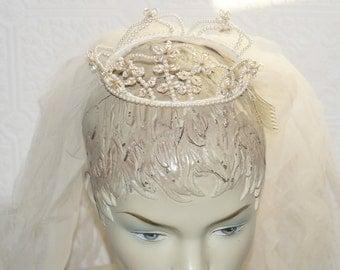 Vintage wedding veil pearl wedding bridal veil headpiece crown tiara miss lillian vogue glass bead