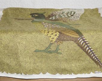 Vintage Lois Long  linen     tea towel  Pheasant   quail    Lois  Long  linen