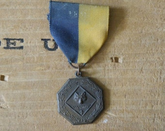 vintage bronze  Cub Scouts medal   Grosgrain pin with bronze medal