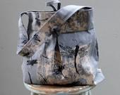 Grey Hobo - Dragonfly Bag Large Hobo Bag - - 3 Pockets Key Fob - Hand printed Grey linen