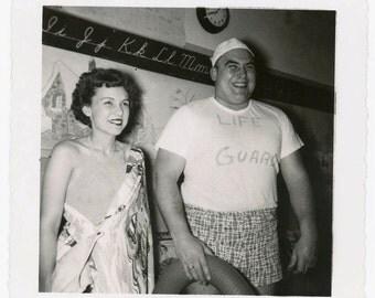 vintage photo 1958 Halloween Costume Man Woman School Room Life Guard Swimsuit