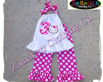 Toddler Girl Hello Kitty Sanrio Birthday Outfit Set Pink Polka Dot Pant Set Ruffle Outfit Size 3 6 9 12 18 24 month 2t 2 3t  4t 4 5 6 7 8 t