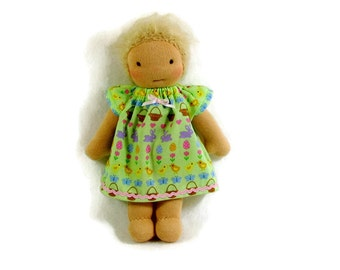 8 inch Waldorf Doll Dress, 9 in Waldorf Light green Doll Dress, 8 in baby doll clothing, petite doll dress, tiny doll clothes