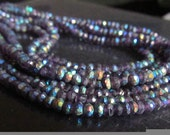 Genuine Amethyst Rondelles Aurora Borealis Faceted Gemstone Beads Get DISCOUNT with Coupon