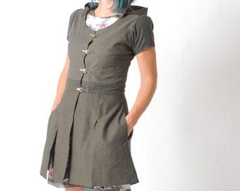 Short sleeve jacket, Khaki brown hooded coat, Womens jackets, Steampunk jacket, Short sleeves, Womens coats MALAM,  Size UK 8.