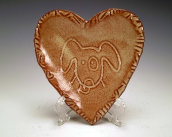 Cream Heart Dish with Dog Face, Ceramic Plate, Dog Lover Gift, Spoon Rest, Ring Holder