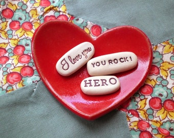 Hero, You Rock!, I love You, Little Dish Gift Set, Lover Gift Set, Care Package Gift, Get Well Gift
