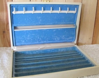 Mid Century Jewelry Box Cream with Gold Embossed Accents Blue Velvet Lining Vintage