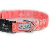 Engraved Dog Collar - Neon Coral Dog Collar - Neon Tribal