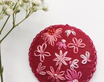 Hand Embroidered Holland Wool Felt Hair Clip