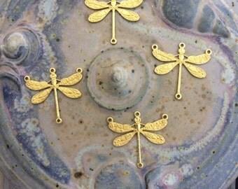 Four Raw Brass Dragonfly Charms