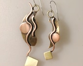 Long Dangle Abstract Asymmetrical Mixed Metal Earrings
