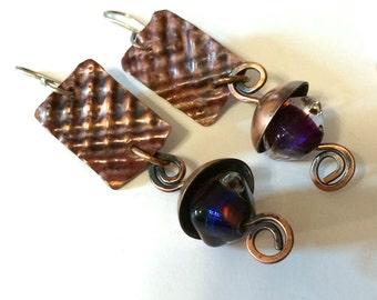 Long Dangle Copper and Lampwork Glass Bead Earrings