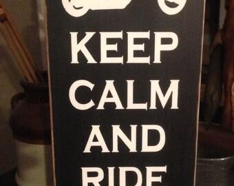 Keep calm and ride on Primitive Wood sign Motorcycle Harley Bike Biker