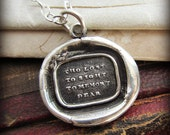 Memorial Necklace Wax Seal - Memorial Jewelry - Tho Lost to Sight, To Memory Dear - Remembrance Jewelry - In memory of