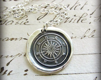 Graduation Gift - Compass Wax Seal Necklace - Guidance and Direction - Compass Necklace - Compass Rose Wax Seal - E2135