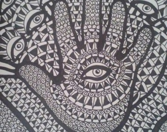 Black and White Hand and Eyes Pen and Ink Drawing
