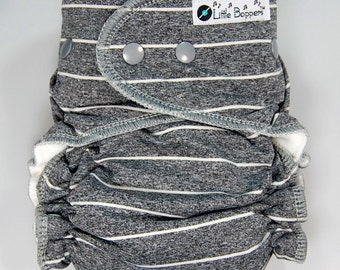 AI2 Cloth Diaper Made to Order - Grey with White Pinstripes - You Pick Size and Style - Custom Nappy - Swim Type Knit (Poly/Lycra)