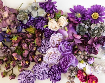 GRAB BAG no. 29 - OVER 100 Small to Medium Purple Shade Flowers - Silk Artificial Flowers