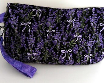 Coraline Wristlet/Clutch with Black Background with Lavender and Bows, Lavender Clutch Wristlet, Coraline Clutch Wristlet, Swoon Pattern