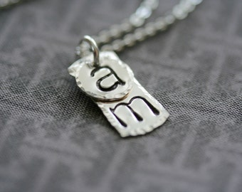 Personalized Vertical Petite Rectangle and Circle Necklace - Sterling Silver Hammered Custom Initial Charms