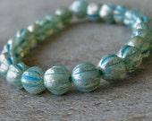 Aqua Mercury Turquoise Picasso Czech Glass Bead 6mm Melon Round : 25 pc Fluted Blue 6mm Bead