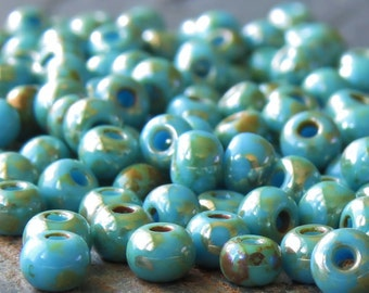 Light Blue 6/0 Czech Glass Picasso Seed Bead : 25 grams Blue Seed Bead