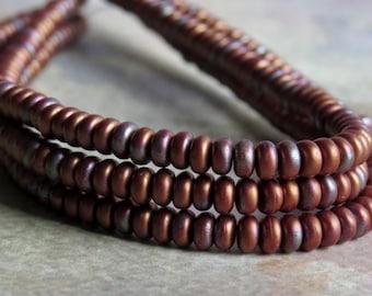 3mm Red Matte Bronze Vega Czech  Glass Bead Rondelle Spacer : 100 pc Red  Rondelle Beads