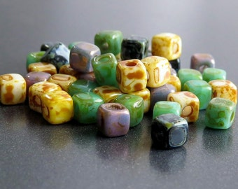 Czech Picasso Cubix Mix 6/0 Cube Beads : 50 pc Czech 4mm Aged Picasso Cube