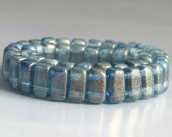 CzechMates Brick Halo Shadows Czech Glass Two Hole 6mm Bead : 50 pc