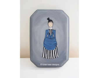 victorian woman   original art   small painting   grey   historical fashion   bustle dress   black and white stripes   blue   mini top hat
